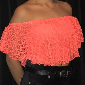 Charlotte Russe Off the shoulders bright crop top